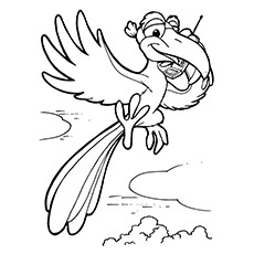 Cartoon Parrot Flying Coloring Pages