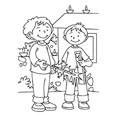 Diwali Coloring Pages - Children Bursting Firecrackers