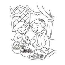 Ramadan Coloring Pages - Children Enjoying Delicacies