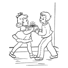 diwali coloring pages children exchanging gifts