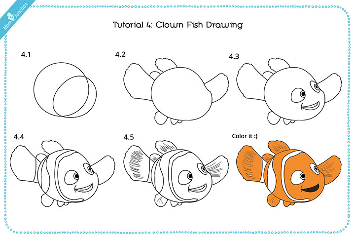 How do you draw a Clown fish step by step Pictures