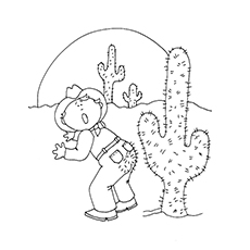 cactus coloring page cowboy and cactus