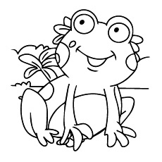 Coloring Page of Cute Frog