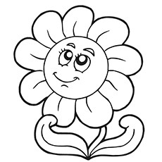 Cute Sunflower Coloring Page