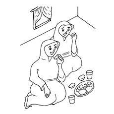 Ramadan Coloring Pages - Devotees Breaking The Fast