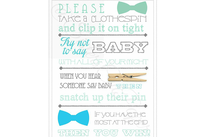 Don't Say Baby Shower Game