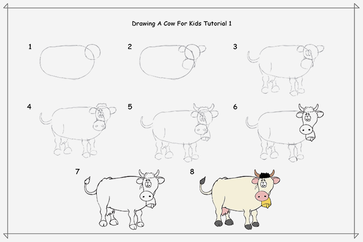 ⑤2 Easy Tutorials On ヾ(^ ^)ノ How How To Draw A ︻ Cow Cow ...