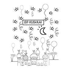 Ramadan Coloring Pages - Eid Mubarak