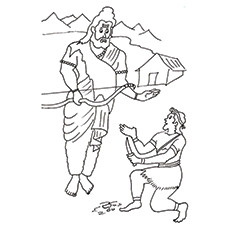 Teachers Day Coloring Pages - Eklavya And Dronacharya