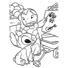 Lilo And Stitch doing Experiments Coloring Pages