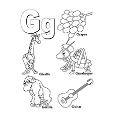 Grasshopper Coloring Page - G For Grasshopper