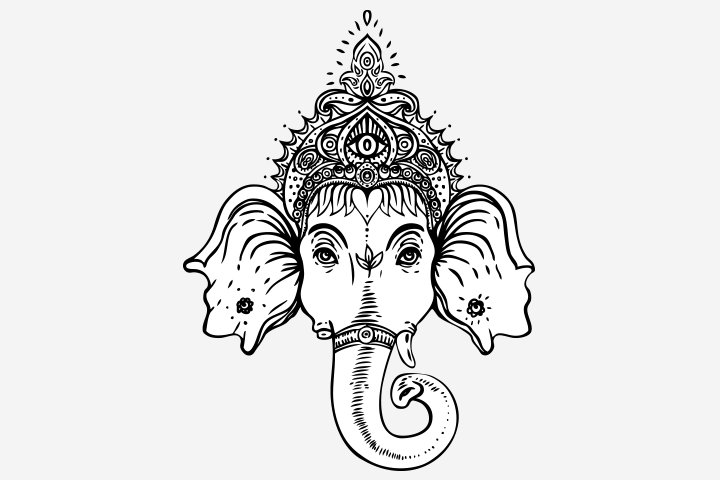 Happy ganesh chaturthi head coloring image
