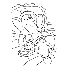 Ganesha Coloring Pages - Ganesha Resting