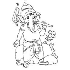 Ganesha Coloring Pages - Ganesha With His Goad