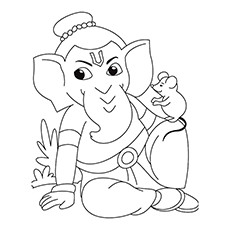 Ganesha Coloring Pages - Ganesha With Mouse