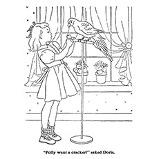 Girl With A Parrot Coloring Sheet