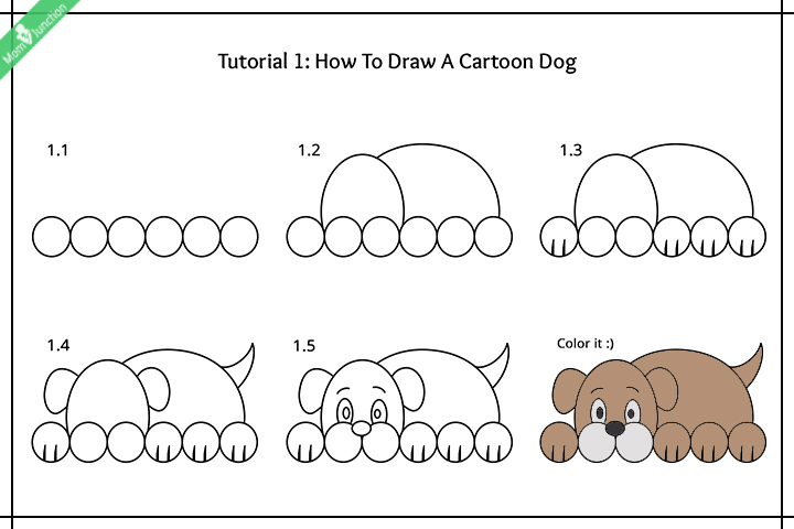 How to draw a cartoon dog images