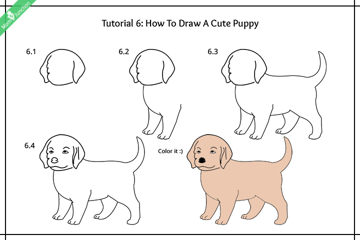 step by step guide on how to draw a dog for kidshow to draw a cute puppy pictures