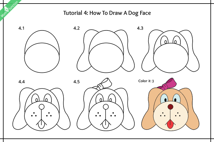 Line Drawing Of A Dog S Face : Dog face drawing for kids
