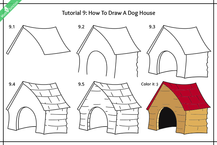 How To Draw A Dog House Pictures
