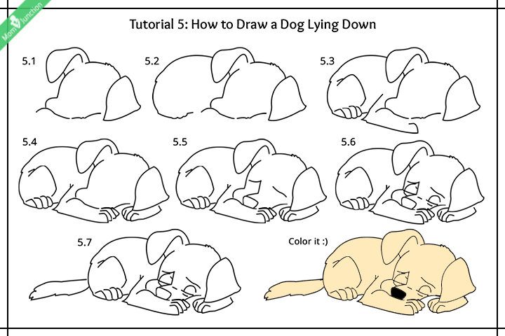 How to draw a dog lying down images