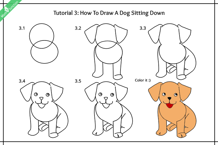 How to draw a sitting dog pictures