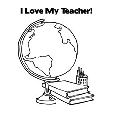Teachers Day Coloring Pages - I Love My Teacher Card