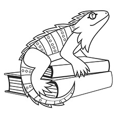 Iguana Coloring Page - Iguana Sitting On A Book