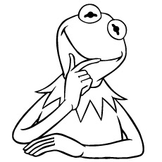 Kermit Frog Thinking Coloring Page