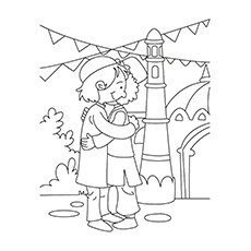 Ramadan Coloring Pages - Kid's Embracing Each Other