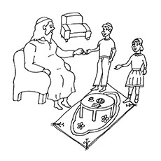 Ramadan Coloring Pages - Kid's Getting Eidi From Their Elders