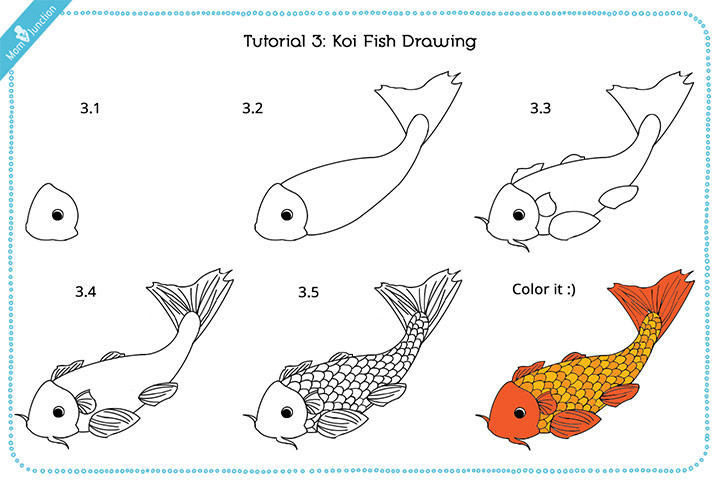 koicoy fish drawing for kids with images