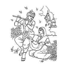 Lord Krishna Coloring Pages - Krishna And Meera