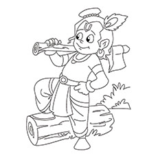Lord Krishna Coloring Pages - Krishna Chopping Wood
