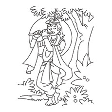 Lord Krishna Coloring Pages - Krishna Playing Flute