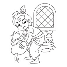 Lord Krishna Coloring Pages - Krishna, The Butter Thief