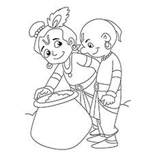 Lord Krishna Coloring Pages - Krishna With Sudama