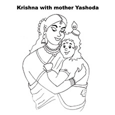Lord Krishna Coloring Pages - Krishna With Yashodha