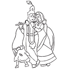 Lord Krishna Coloring Pages - Krishna with Radha