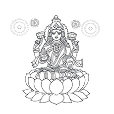 Diwali Coloring Pages - Lakshmi Puja