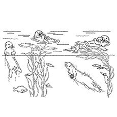 otter coloring page otters hunting - Otter Coloring Pages