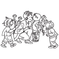 Teachers Day Coloring Pages - Preschoolers Presenting Flowers To Children