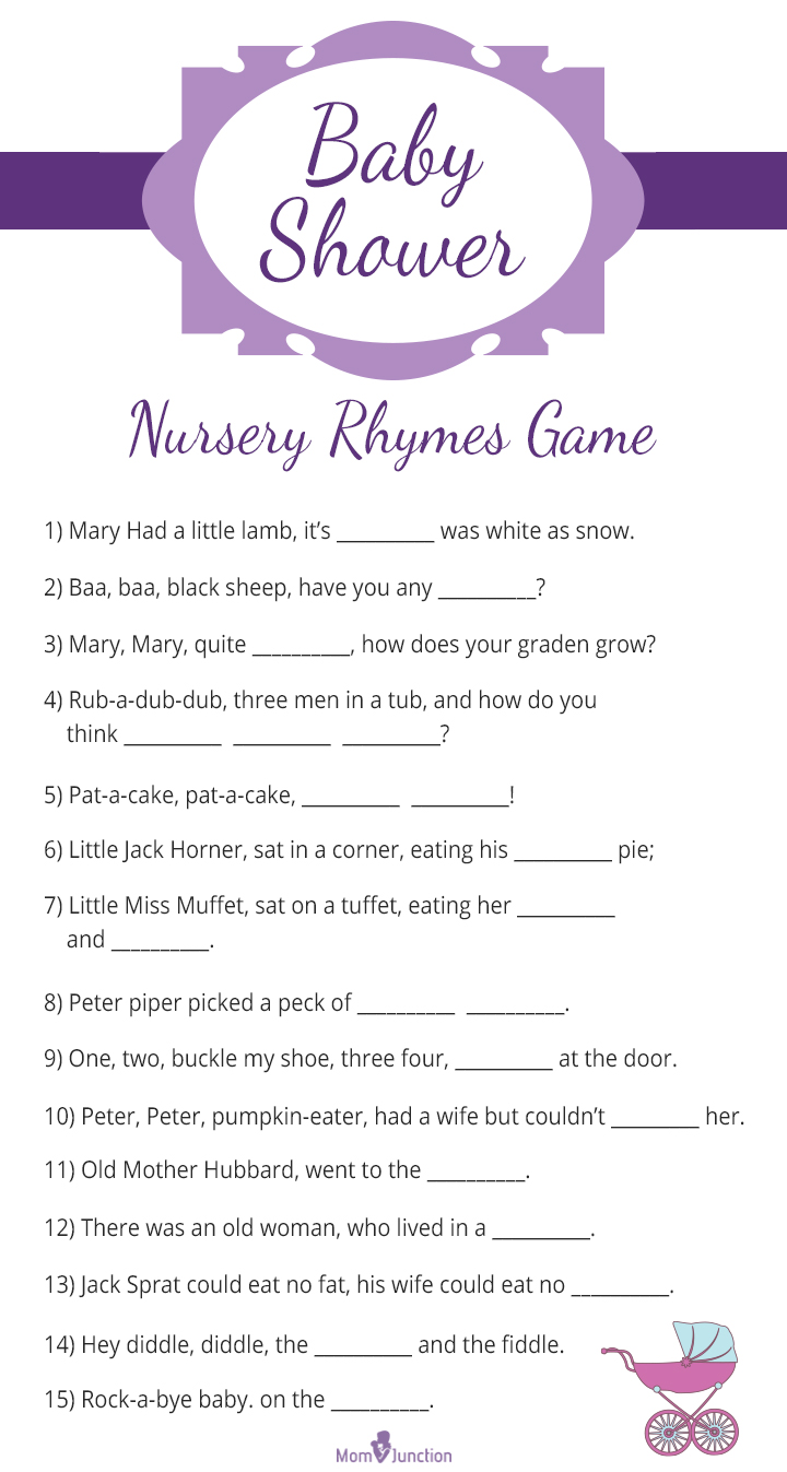 Baby Shower Printable Nursery Rhyme Quiz Game