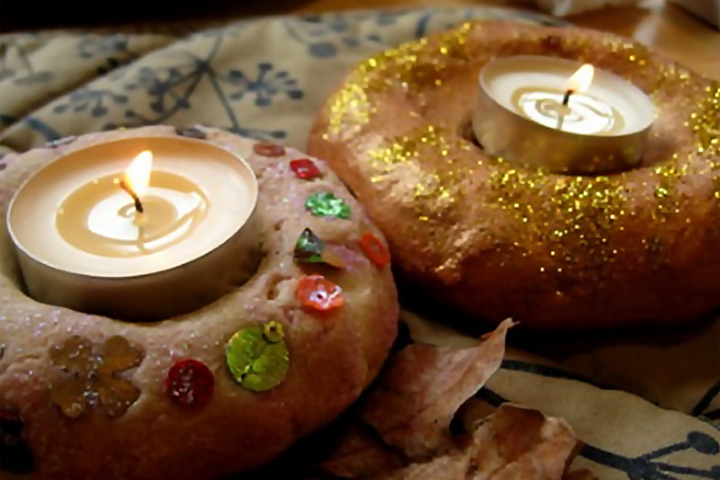 Diwali Craft Ideas - Salt-And-Dough-Candle-Holders
