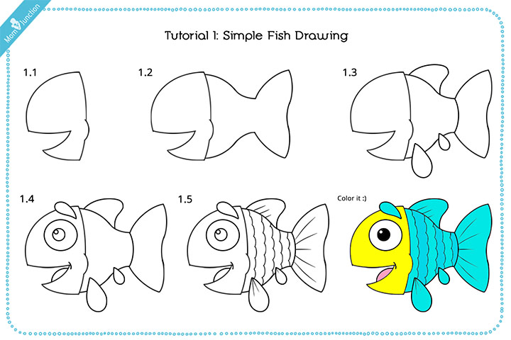 simple fish drawing for kid with pictures - Simple Drawing For Kid