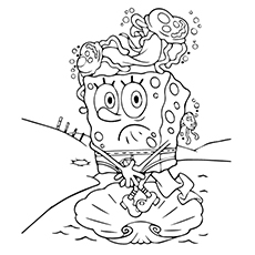 SpongeBob on head of Jellyfish Coloring Page to Print