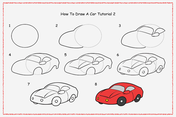 images how to draw a simple car step by step for kids - Cars Drawings Step By Step