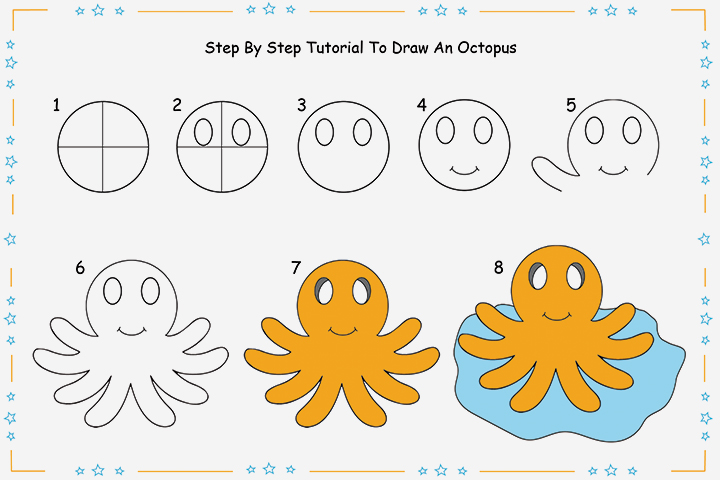 8 Step By Step Tutorial For Drawing An Octopus For Kids
