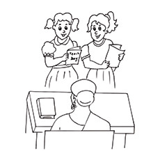 Teachers Day Coloring Pages - Students Presenting Cards To The Teacher
