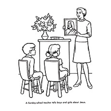 Teachers Day Coloring Pages - Sunday School Teacher